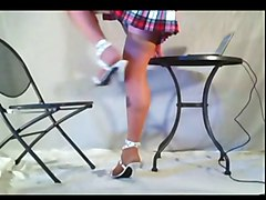 Heels, Thick thighs in white high heels and skirt, Xhamster