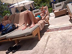 Asian, Bikini, Bikini latina outdoor pool, Xhamster
