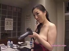 Asian, Lingerie, Strapon, Cumshot, Asian office, Gotporn
