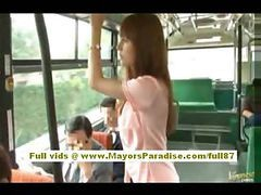 Asian, Bus, Hairy, Babe, Sexual harassment in bus, Drtuber