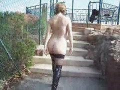 Stockings, Outdoor, Jerking off outdoors, Xhamster
