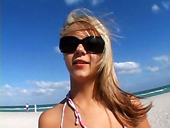 Bikini, Blonde, Babe, Beach, Mom strips from blue bikini, Redtube
