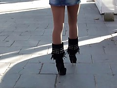 Boots, Babe, Public, Heels, Xhamster